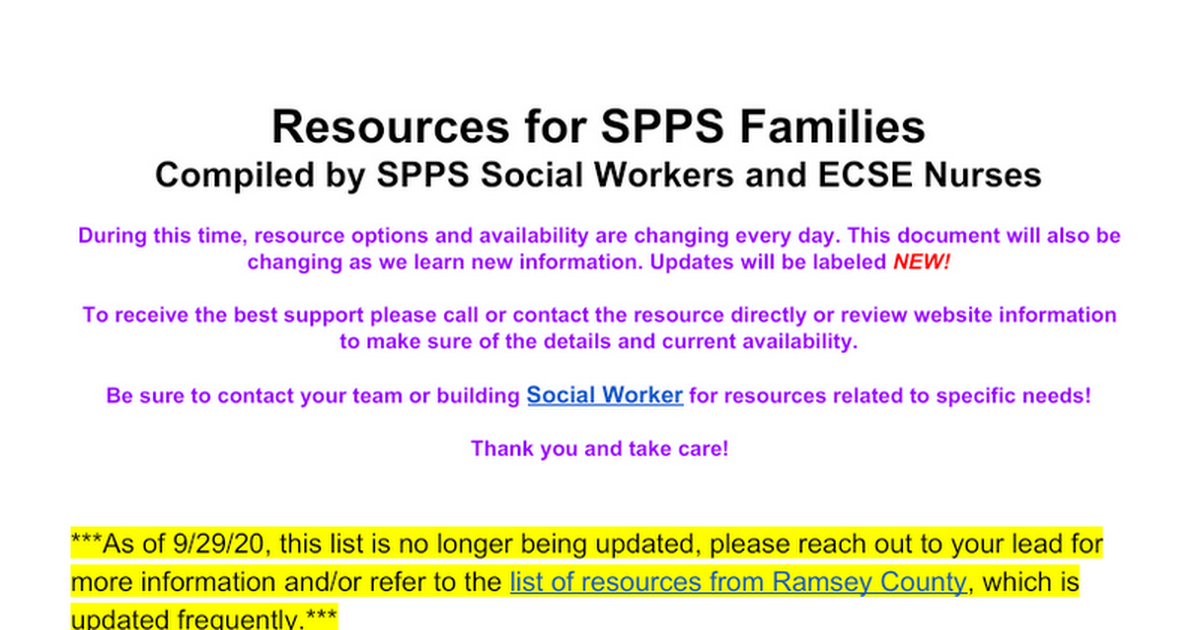 Resources for SPPS Families