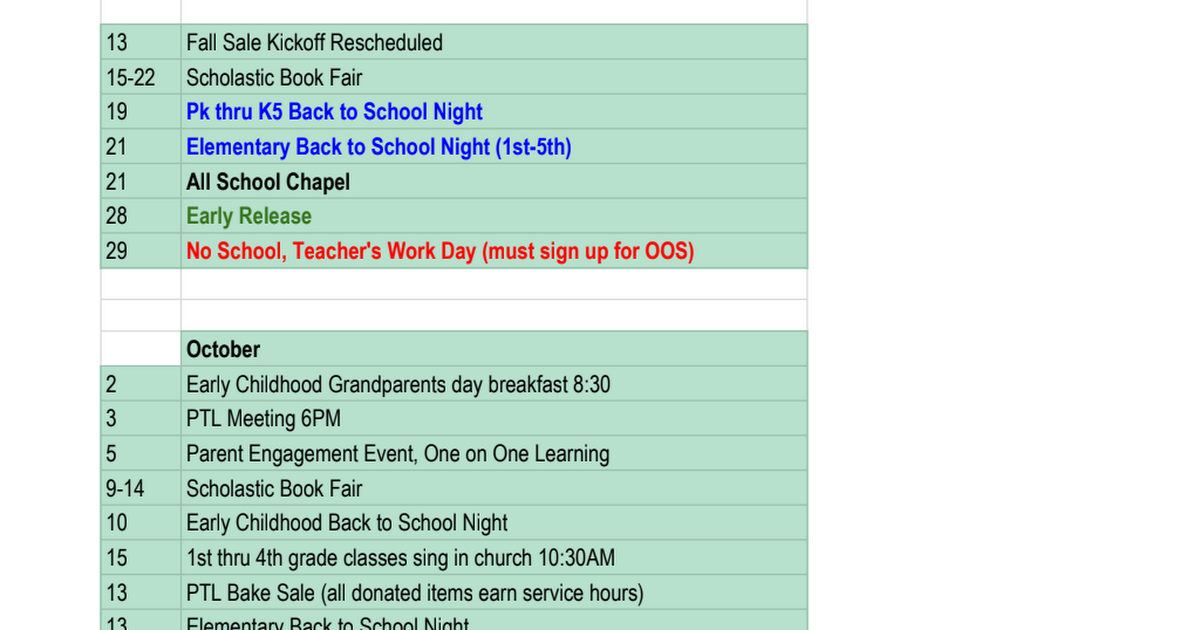 School Calendar (Revised Sept. 2017)