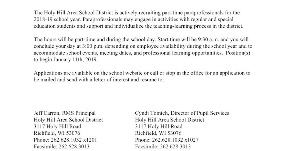 Paraprofessional - 2018-2019 Job Posting
