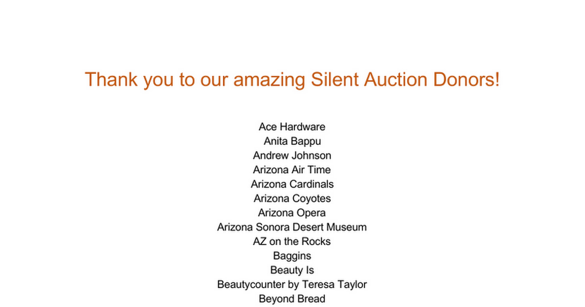 Thank you to our amazing Silent Auction Donors