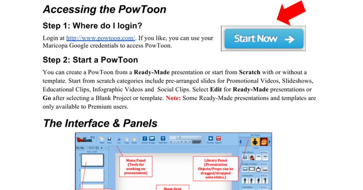 PowToon Quick Reference