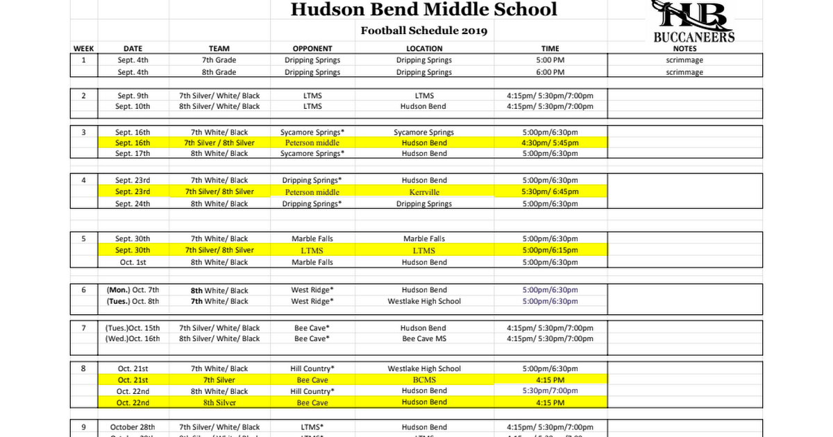 Hudson Bend  Athletic Schedules 2019-2020