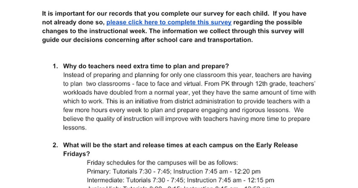 Instructional Week FAQ