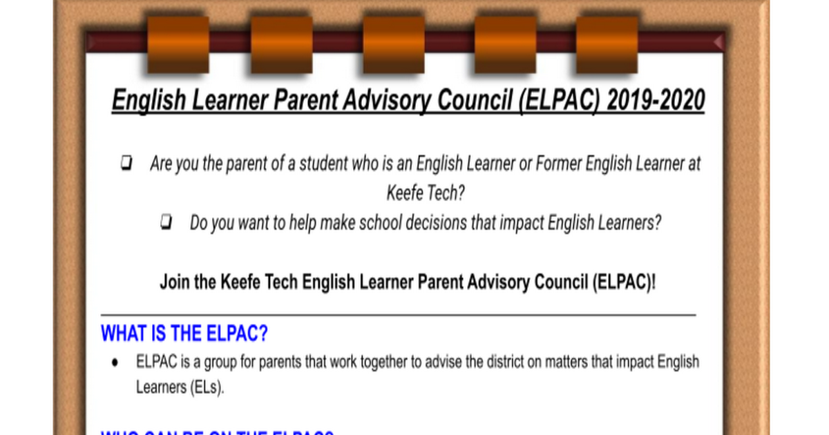 Keefe Tech Summer 2019 ELPAC Newsletter