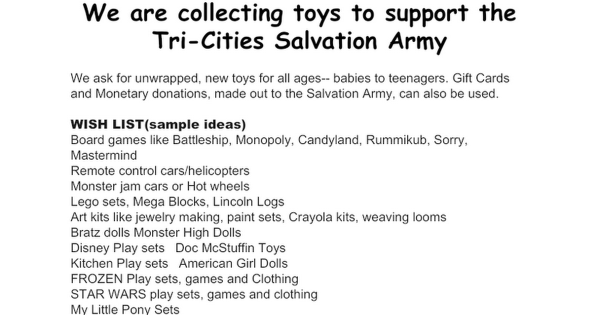 Salvation Army Toys for Kids