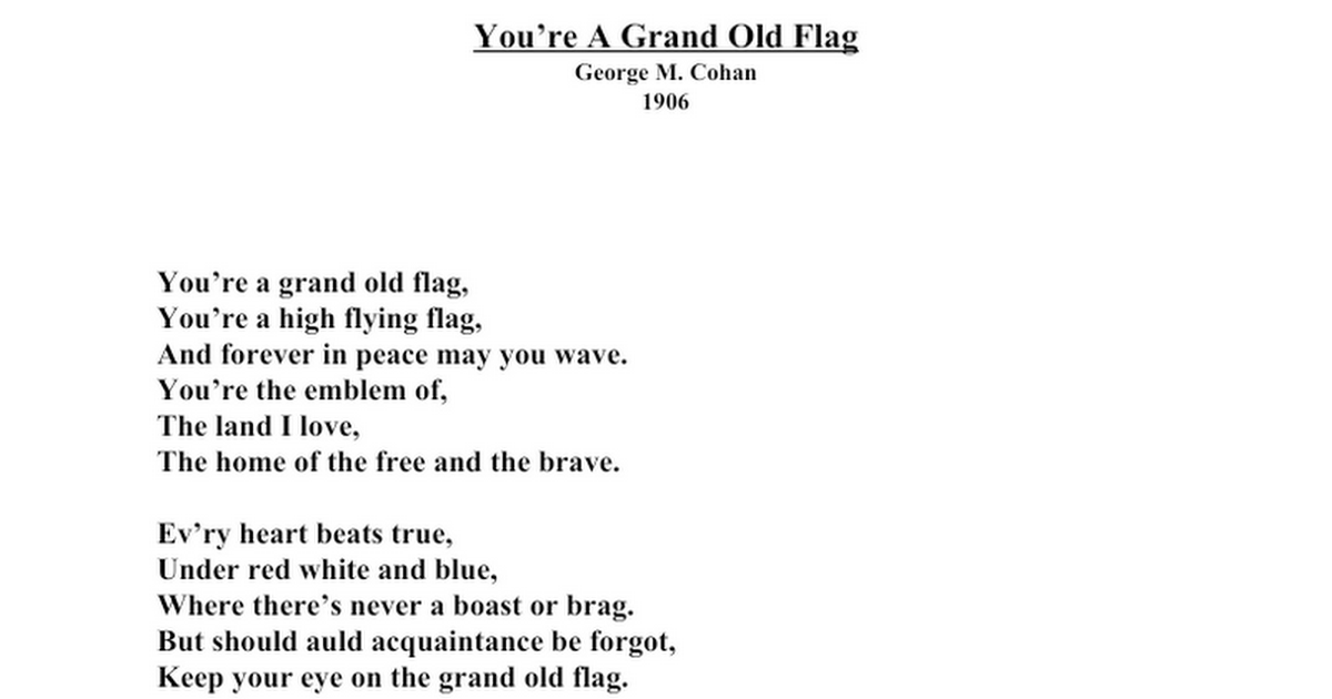 You're A Grand Old Flag lyrics
