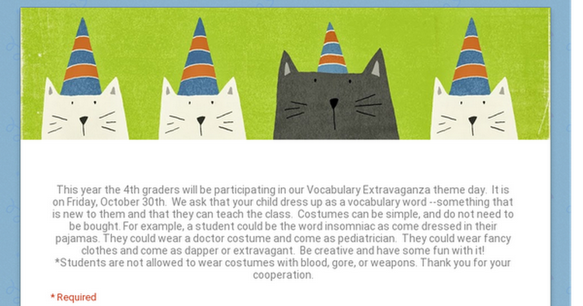 Vocabulary Extravaganza Oct. 30, 2015