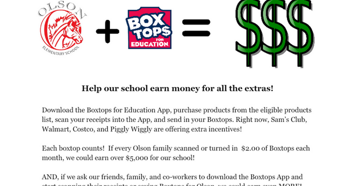 Boxtops Note for August 2019 Newsletter