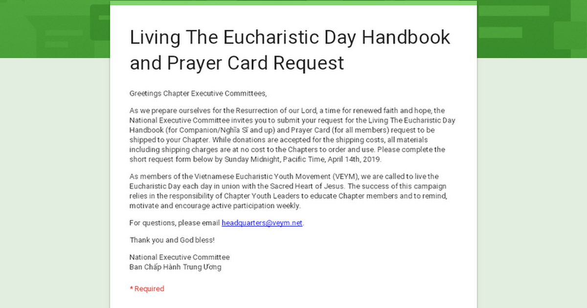 Living The Eucharistic Day Handbook and Prayer Card Request