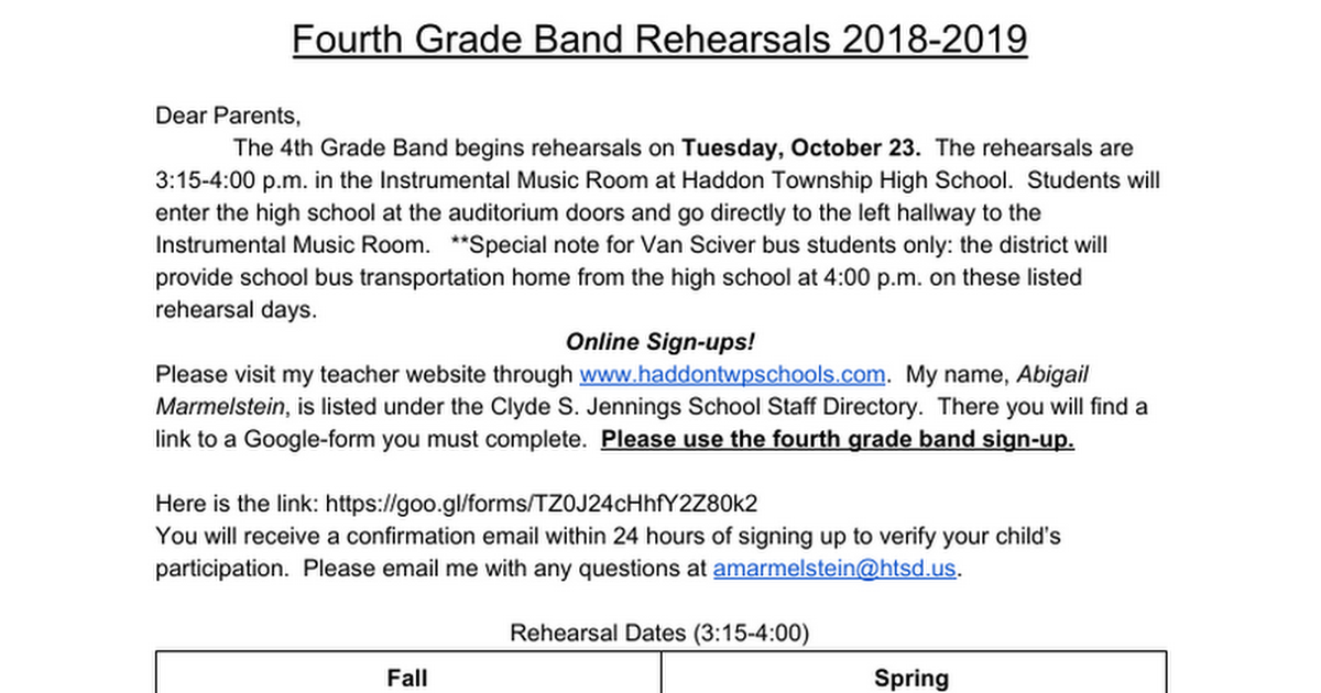 Fourth Grade Band Rehearsals 2018-2019