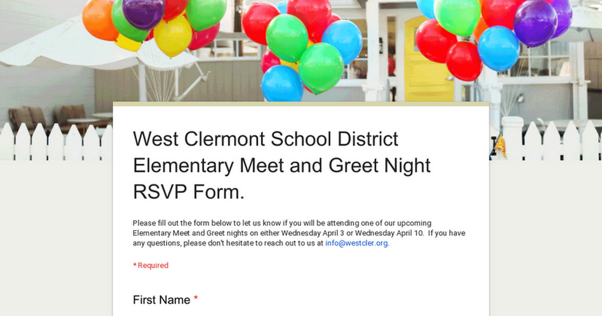 West Clermont School District Elementary Meet and Greet Night RSVP Form.