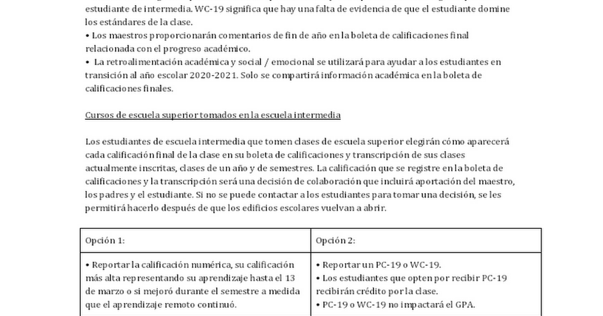 COVID-19 NHCS Middle School Final Grade Spanish Parent Letter