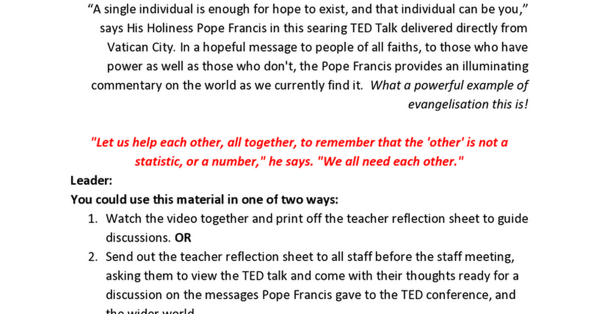 Pope Francis TED Talk the Future You