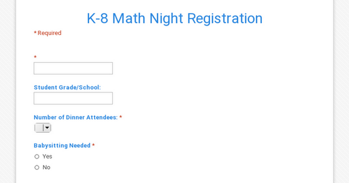 K-8 Math Night Registration