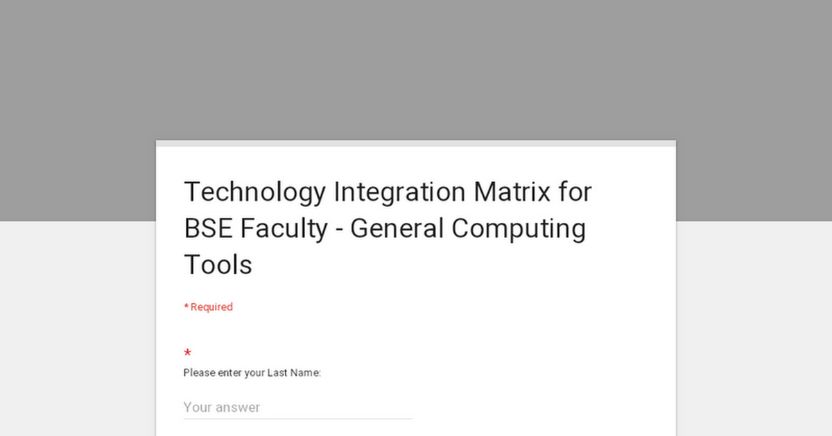 Technology Integration Matrix for BSE Faculty - General Computing Tools