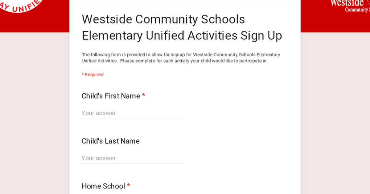 Westside Community Schools Elementary Unified Activities Sign Up