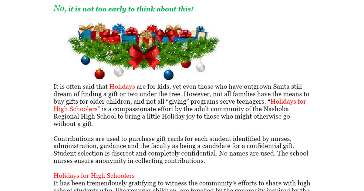 Holidays for Highschoolers-newsletter 2020.doc