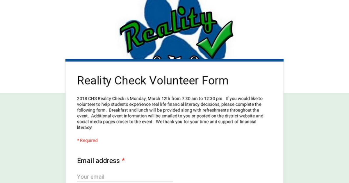 Reality Check Volunteer Form