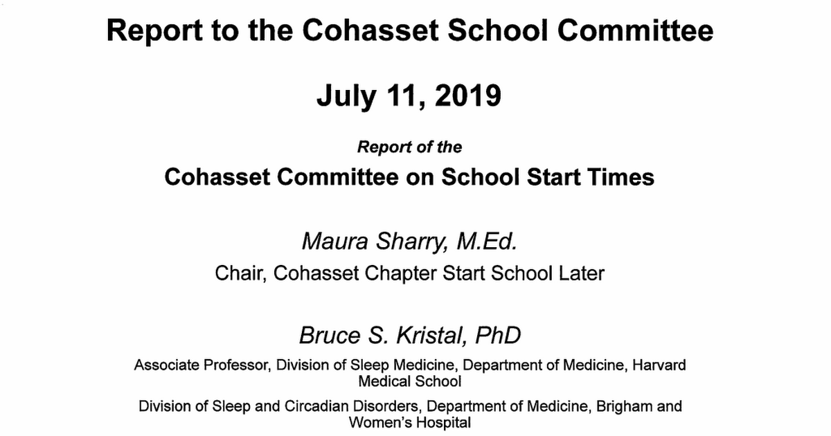 School Start Time Committee Report to School Committee 2019-07-11.pdf
