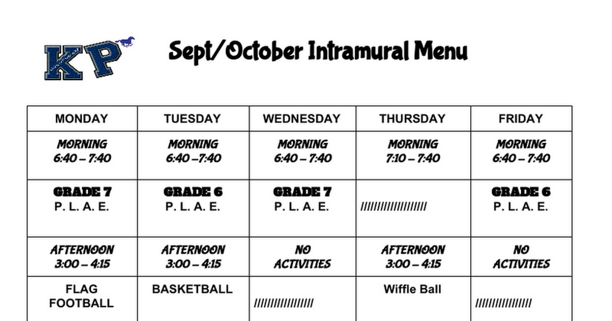 September/October Intramural Menu