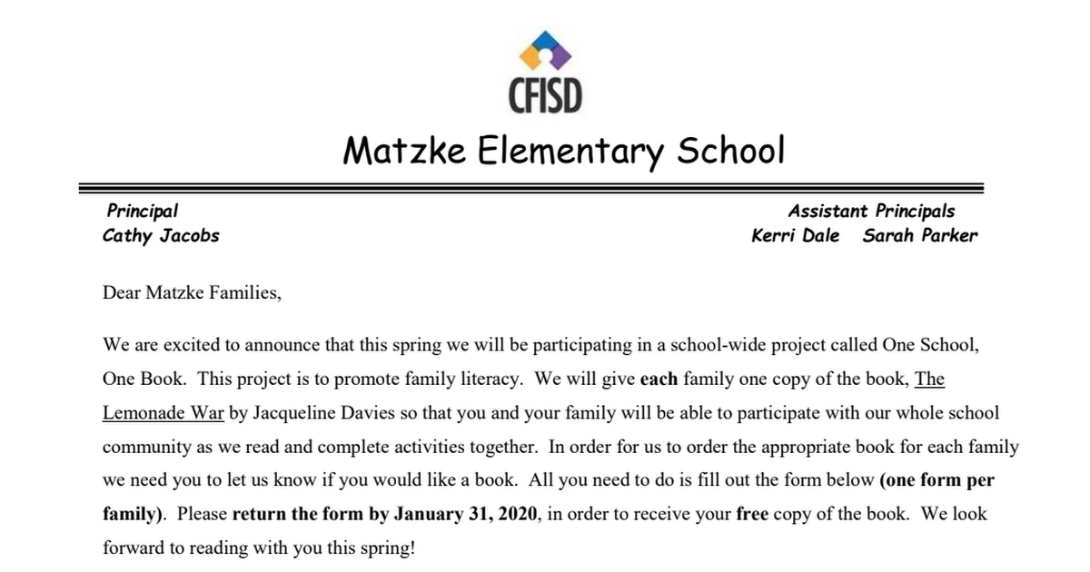 Matzke One School One Book Family Letter EngSpa.pdf
