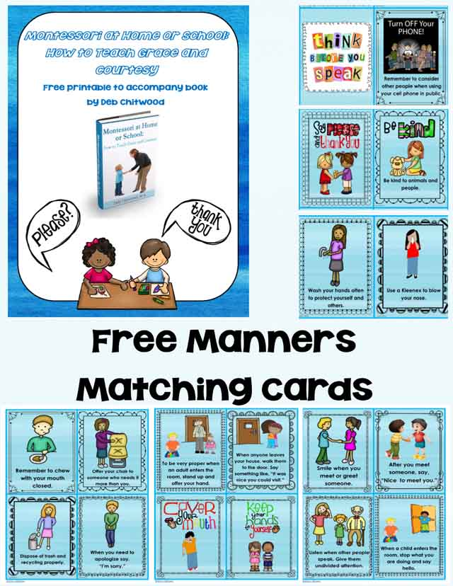 Montessori Monday - Free Grace and Courtesy Printable {Manners Matching Cards}