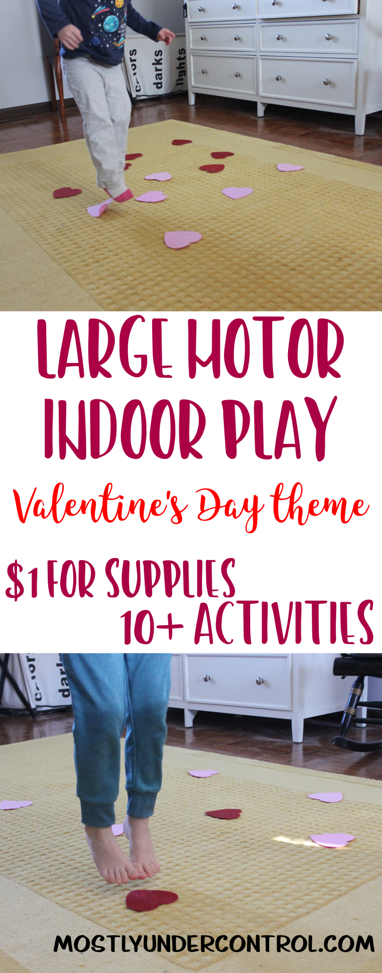 Large Motor Indoor Play for winter months - featuring Valentine's day