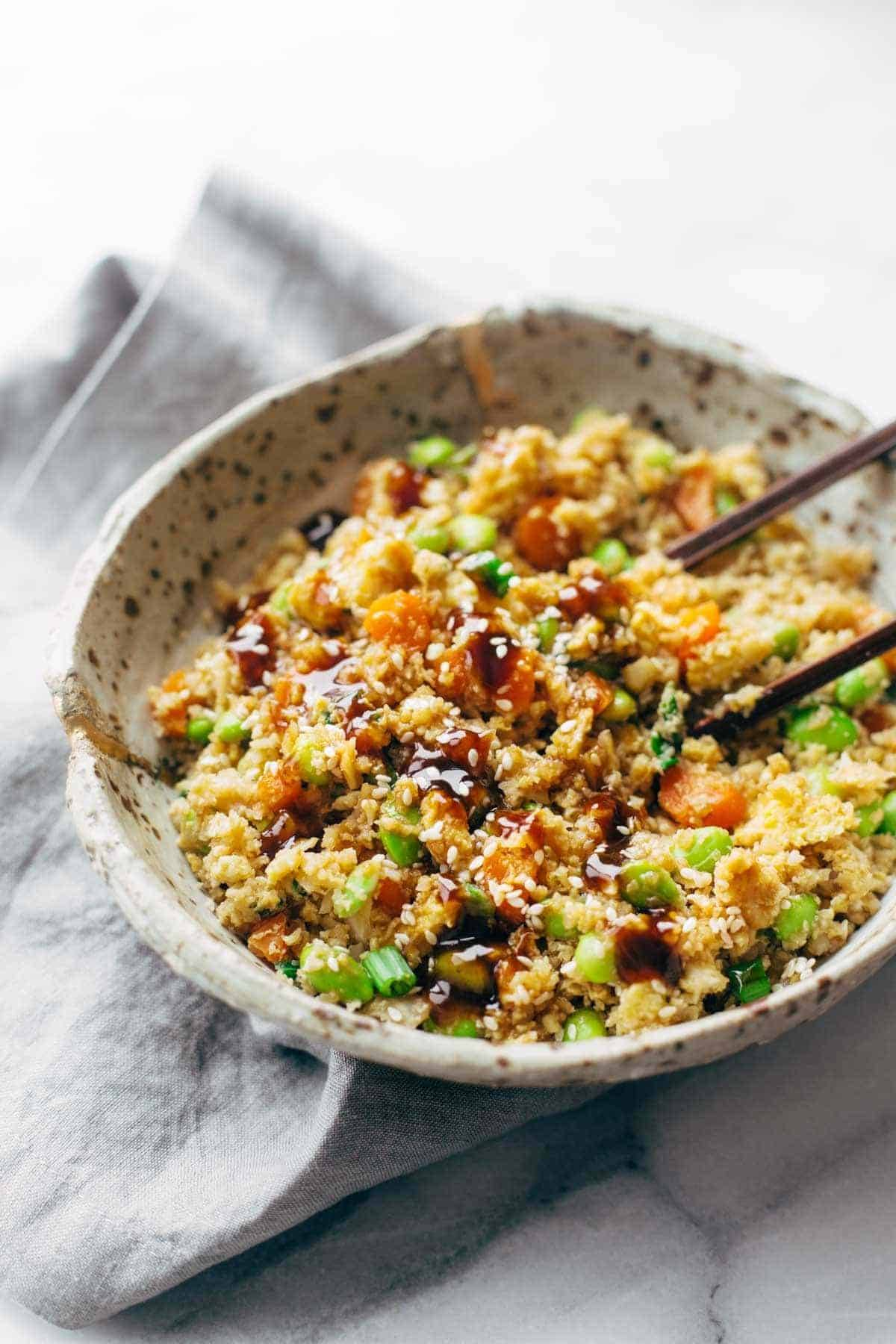 15 Minute Cauliflower Fried Rice - Pinch of Yum