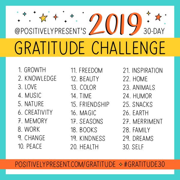 The 2019 Gratitude Challenge!