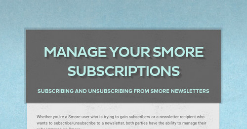 Manage your Smore subscriptions
