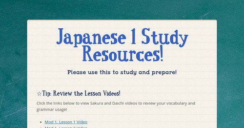 Japanese 1 Study Resources!