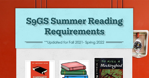 S9GS Summer Reading Requirements