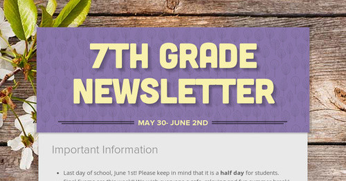 7th Grade Newsletter