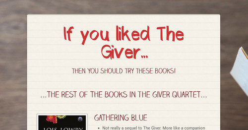 If you liked The Giver...