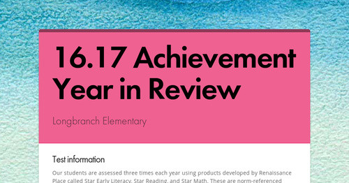 16.17 Achievement Year in Review