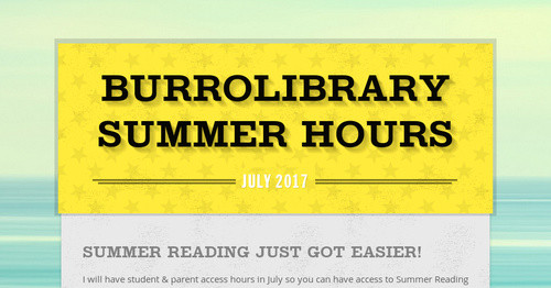 Burrolibrary Summer Hours