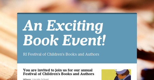 An Exciting Book Event!