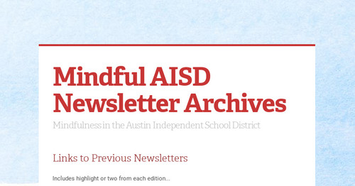 Mindful AISD Newsletter Archives