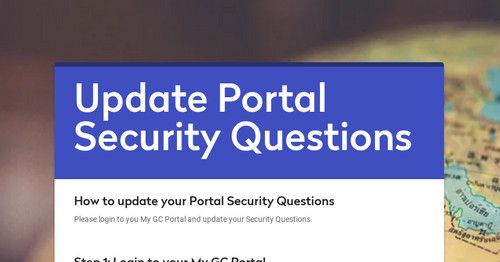 Update Portal Security Questions