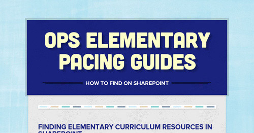 OPS Elementary Pacing Guides