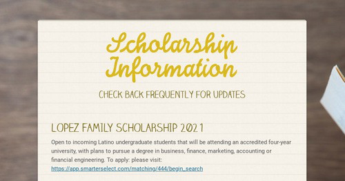 Scholarship & Enrichment Programs