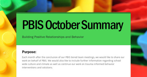 PBIS October Summary