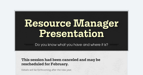 Resource Manager Presentation