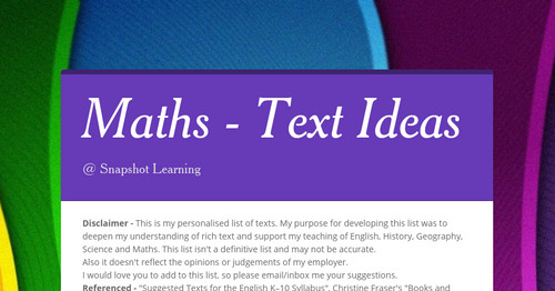 Maths - Text Ideas