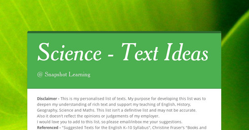 Science - Text Ideas