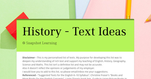 History - Text Ideas
