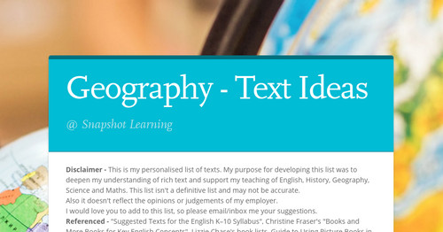 Geography - Text Ideas