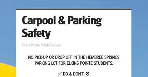 Carpool & Parking Safety