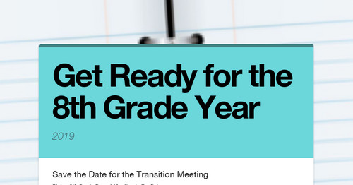 Get Ready for the 8th Grade Year