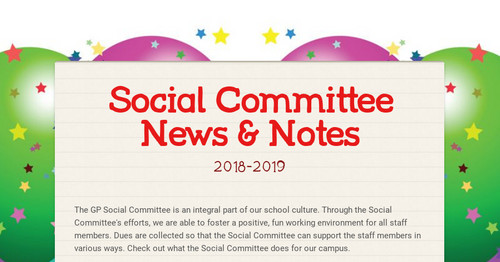 Social Committee News & Notes